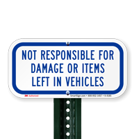 Not Responsible for Damage Sign