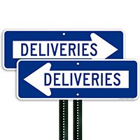 Deliveries Signs (with Left Arrow)