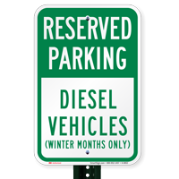 Diesel Vehicles (Winter Months Only) Reserved Parking Signs