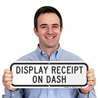 DISPLAY RECEIPT ON DASH Signs