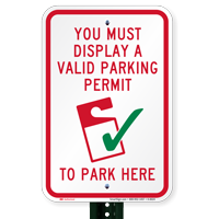 Display A Valid Parking Permit To Park Signs