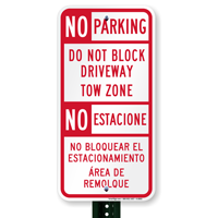 Bilingual Restricted Parking Sign