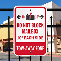 Do Not Block Mailbox, Tow-Away Zone Signs