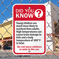 High Temperatures Dont Leave Children Pets Car Signs
