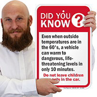 Did You Know Dont Leave Children Car Signs