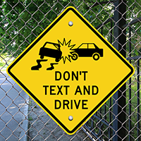 Don't Text And Drive, No Cell Phone Signs