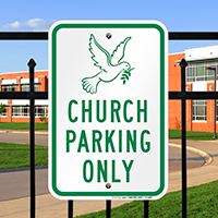 Church Parking Only Signs (Dove Symbol)