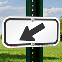 Downwards Left Arrow, Supplemental Parking Signs, Black