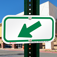 Downwards Left Arrow, Supplemental Parking Signs, Green