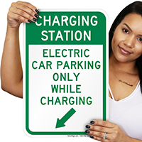 Electric Car Parking Only Signs (With Left Arrow)