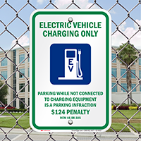 Electric Vehicle Charging Only Signs with Graphic