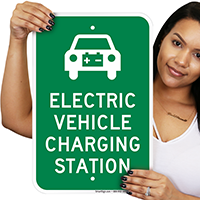 Electric Vehicle Charging Station With Graphic Signs