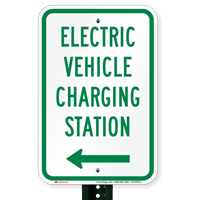 Electric Vehicle Charging Station At Left Signs