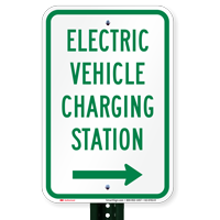 Electric Vehicle Charging Station At Right Signs