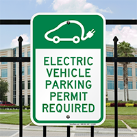 Electric Vehicle Parking Permit Required Signs