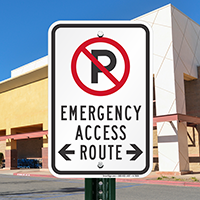Emergency Access Route Signs (With Bidirectional Arrow)