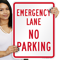 Emergency Lane, No Parking Signs