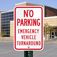 No Parking Emergency Vehicle Turnaround Signs