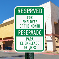 Bilingual Reserved For Employee Of The Month Signs