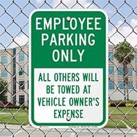 Employee Parking Only, All Others Towed Signs