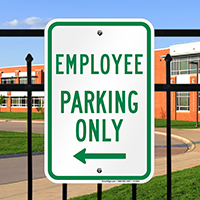Employee Parking Only With Left Arrow Signs
