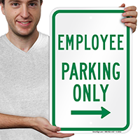 Employee Parking Only With Right Arrow Signs