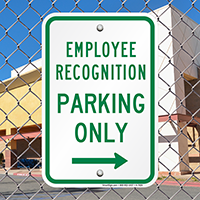 Employee Recognition Parking Only Signs (Left Arrow)