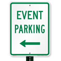 Event Parking With Left Arrow Signs