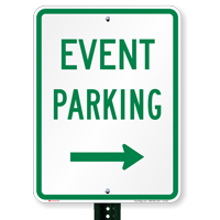 Event Parking With Right Arrow Signs