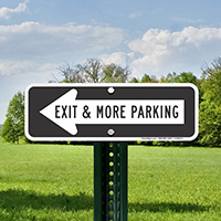 Exit and Parking Signs with Left Arrow