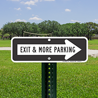Exit and Parking Signs with Right Arrow