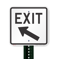 Exit with Left Arrow Signs