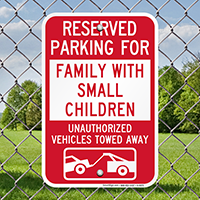 Reserved Parking For Family With Small Children Signs