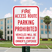 Fire Access Route, Vehicles Towed Away Signs