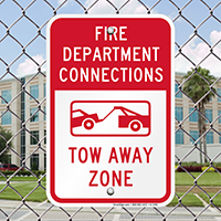 Fire Department Connection, Tow Away Zone Signs
