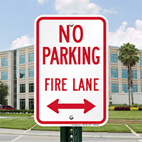 Fire Lane Sign With Bidirectional Arrow