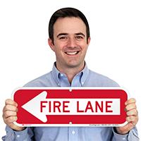 Fire Lane, Left Arrow Directional Parking Signs