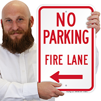 No Parking Fire Lane Signs With Left Arrow