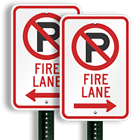 Fire Lane Parking Signs (right arrow symbol )