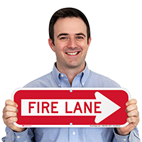 Fire Lane, Right Arrow Directional Parking Signs