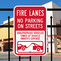 Fire Lanes, No Parking On Streets Signs