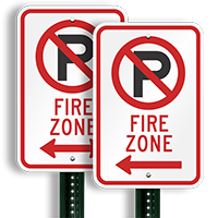 Fire Zone Parking Signs (no parking symbol )