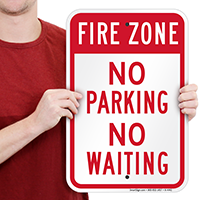 Fire Zone No Parking No Waiting Signs