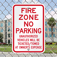 Fire Zone, No Parking Signs