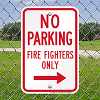 No Parking Firefighters Only Sign With Right Arrow