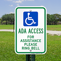 ADA Access For Assistance Please Ring Bell Signs