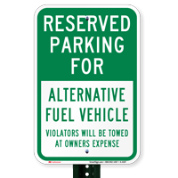 Reserved Parking Alternative Fuel Vehicle Signs