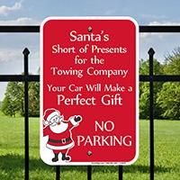 Funny Santa No Parking Signs