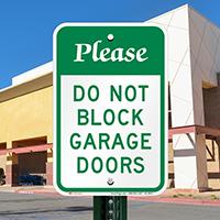 Please Do Not Block Garage Doors Signs