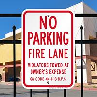 Georgia Fire Lane No Parking Signs